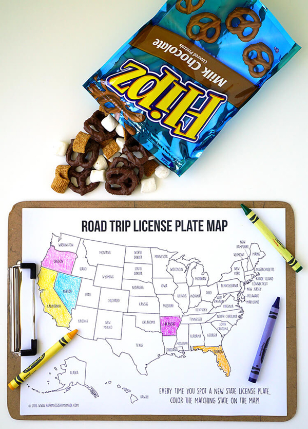 Road trip license plate coloring map | Best ideas for road trips with kids