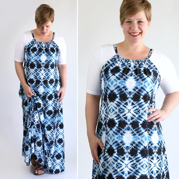 A woman wearing a DIY halter maxi dress