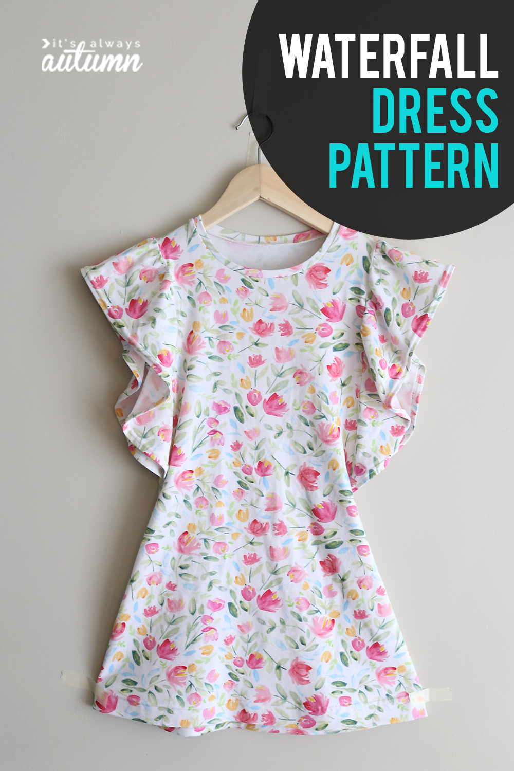 Cute girl's dress sewing pattern! How to sew a girls dress with ruffled waterfall sleeves.