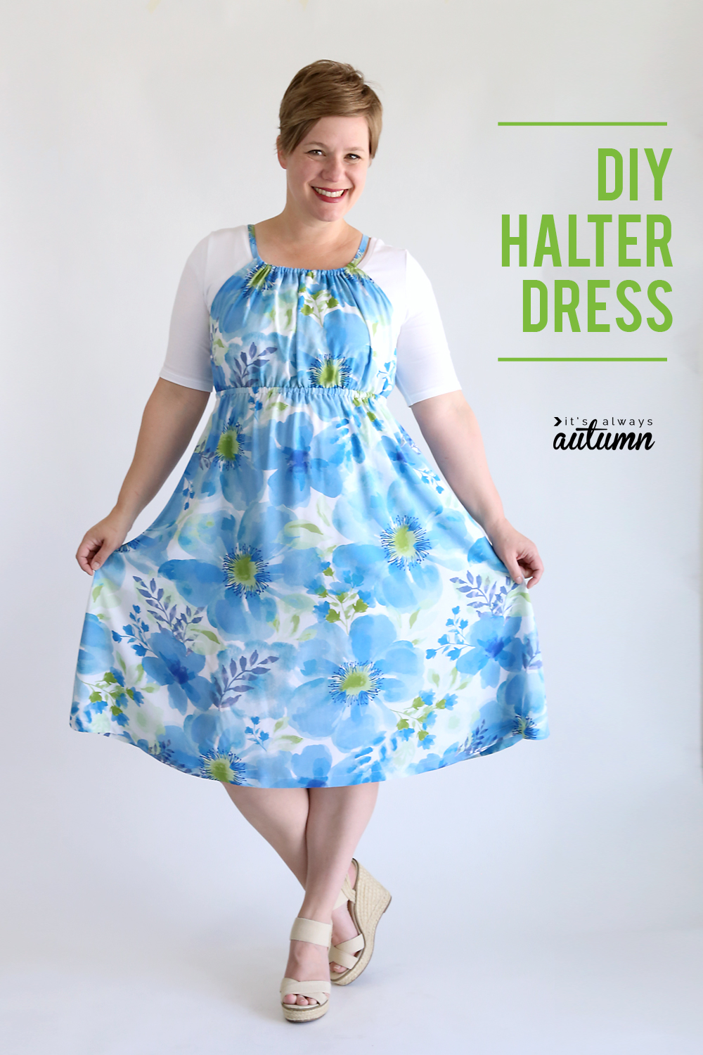 DIY halter dress sewing tutorial. Click through for easy sewing instructions.