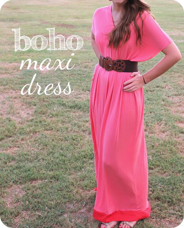 Pink boho belted maxi dress