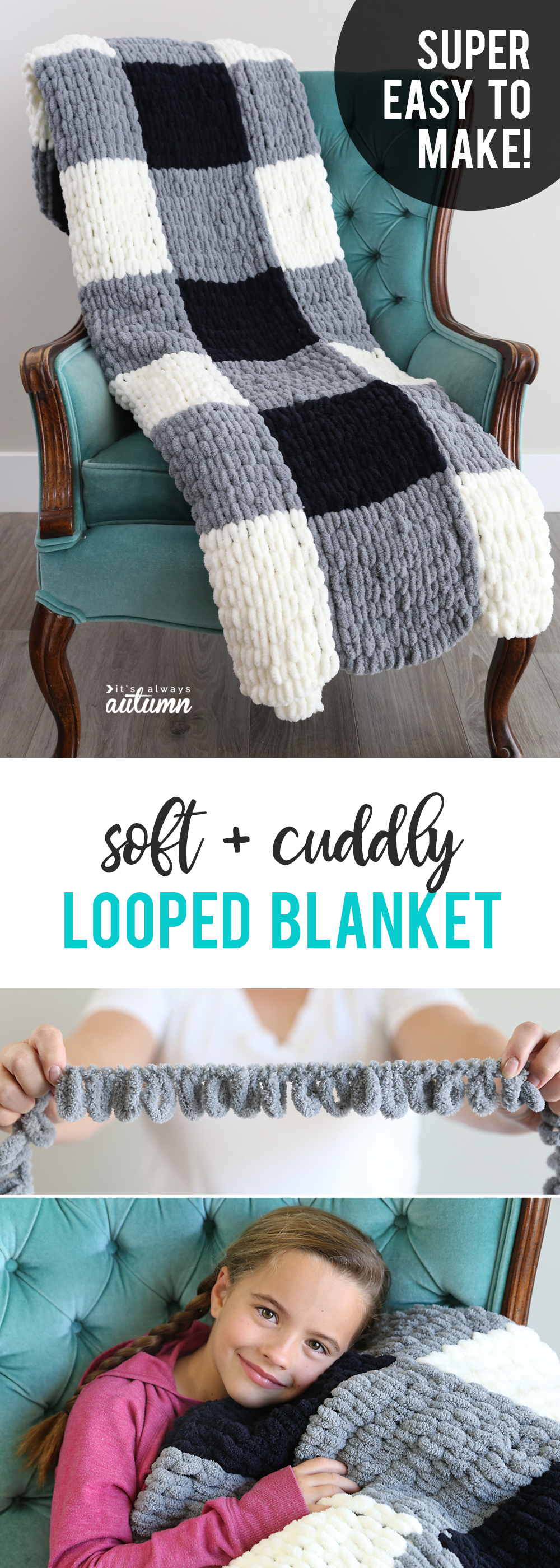 Finger knitting is SO EASY with new loop yarn. You can make a gorgeous chunky knit blanket without knowing how to knit!