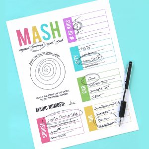 How to play MASH + a free printable game sheet!