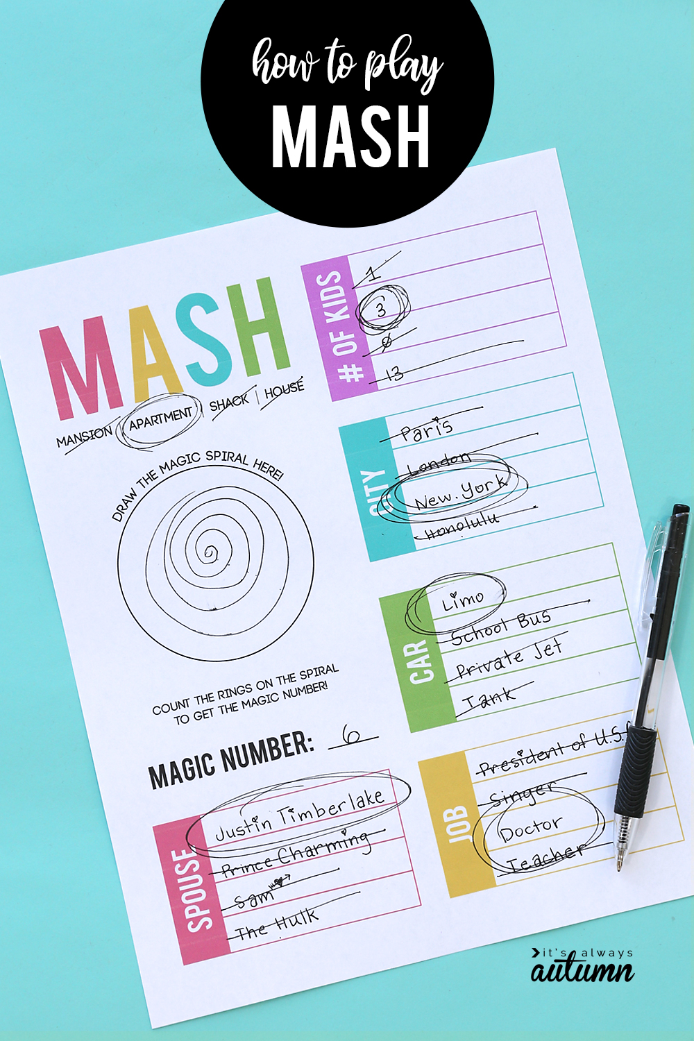 graphic about Mash Game Printable identify How towards enjoy MASH + a free of charge printable match sheet! - Its