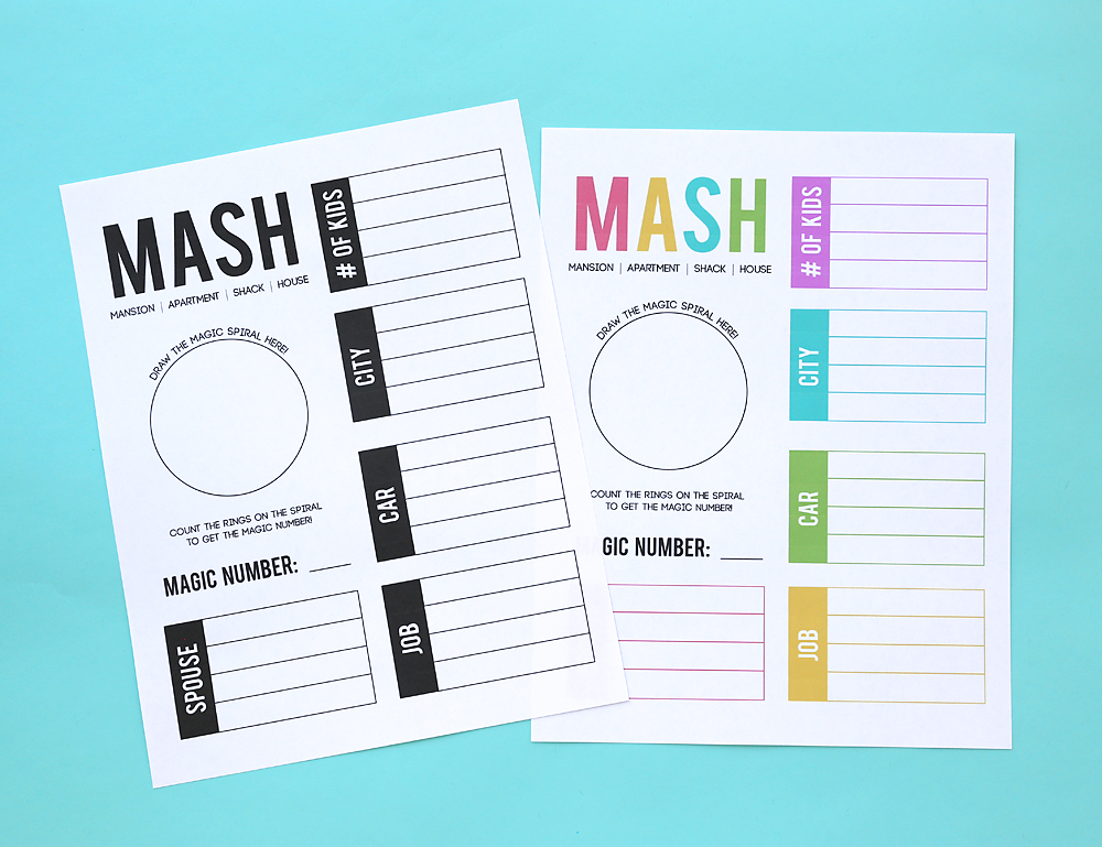 image relating to Mash Game Printable named How in the direction of enjoy MASH + a no cost printable recreation sheet! - Its