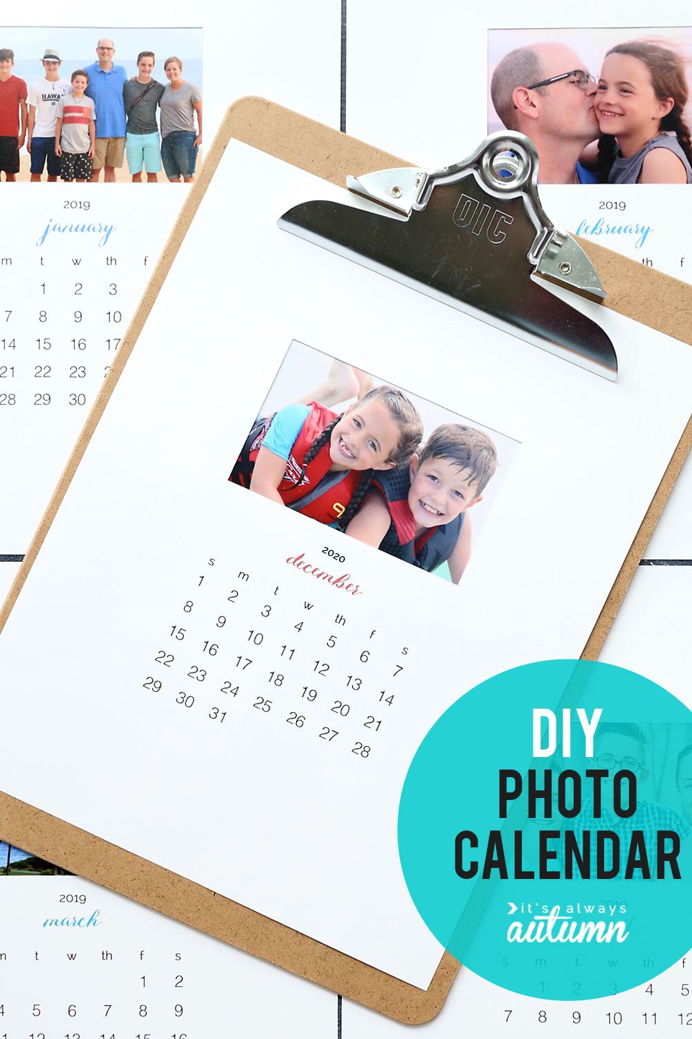 Personalized photo calendar with free 2020 printable templates
