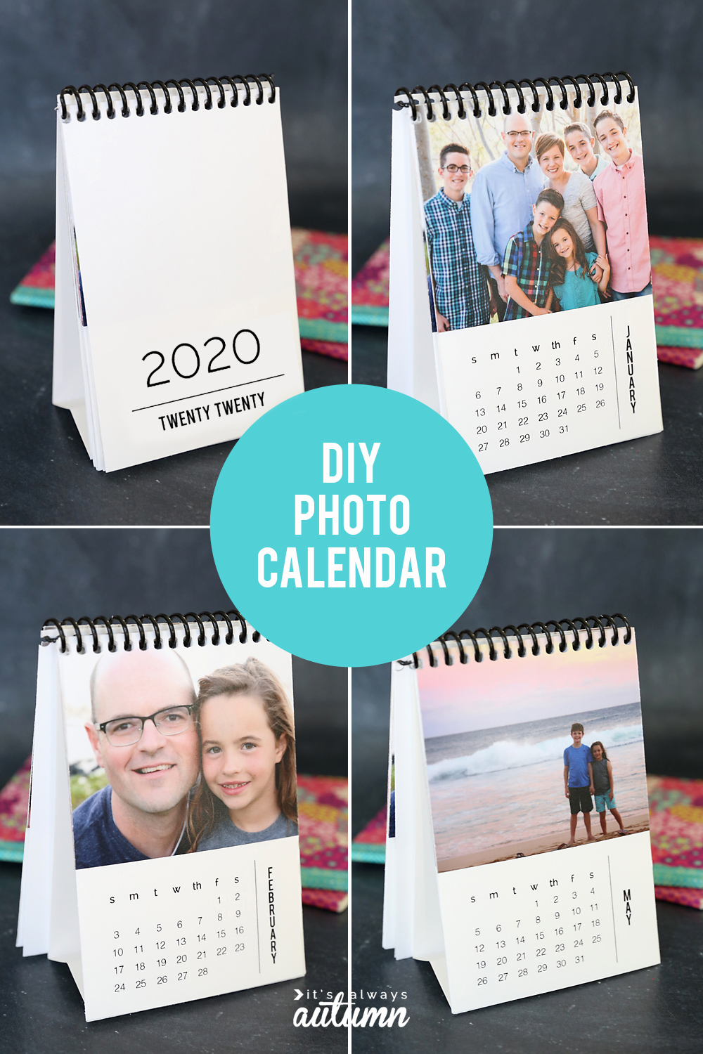 How to make a mini photo calendar for 2020 - great homemade gift idea!