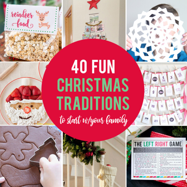 Collage of fun Christmas traditions to start with your family