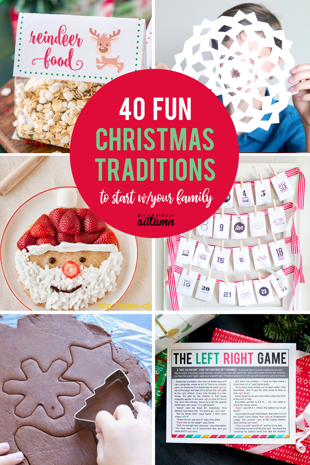 40 fun Christmas traditions to start with your family! Great family tradition ideas.