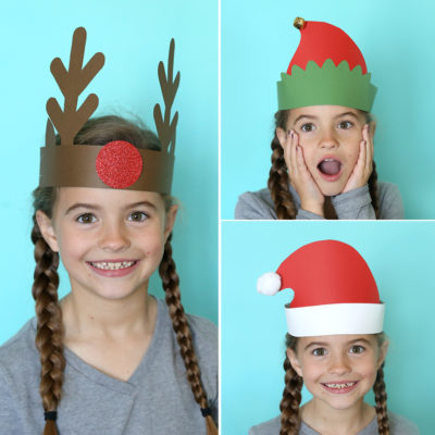 Santa, elf + reindeer headbands {easy Christmas craft for kids}