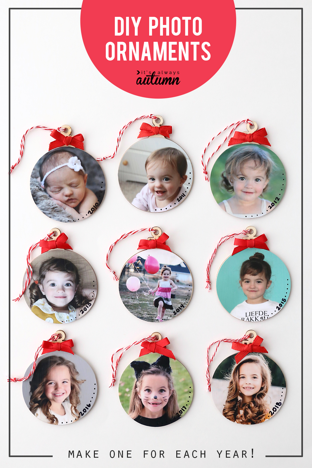 Make keepsake photo ornaments this Christmas! Easy picture ornament tutorial. Make one with a photo from each year.