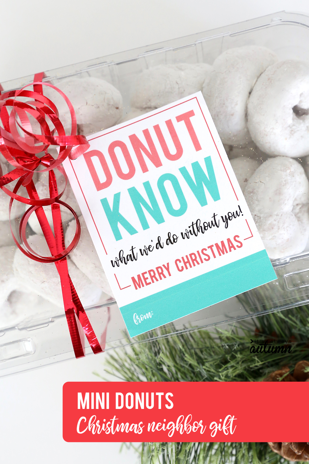 17 easy Christmas neighbor gift ideas with printable tags! Mini donuts neighbor gift idea.