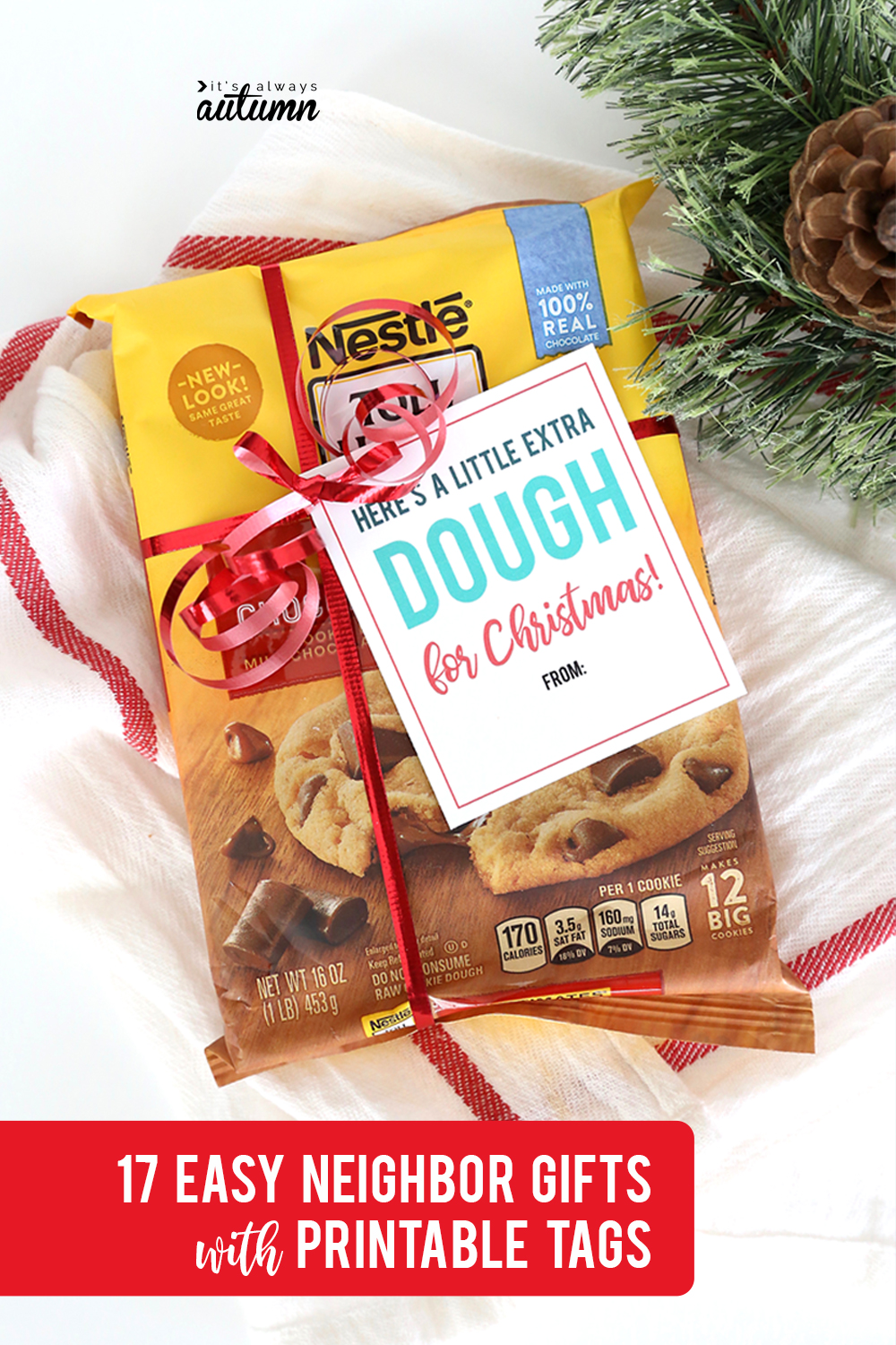17 easy Christmas neighbor gift ideas with printable tags! Cookie dough neighbor gift idea.