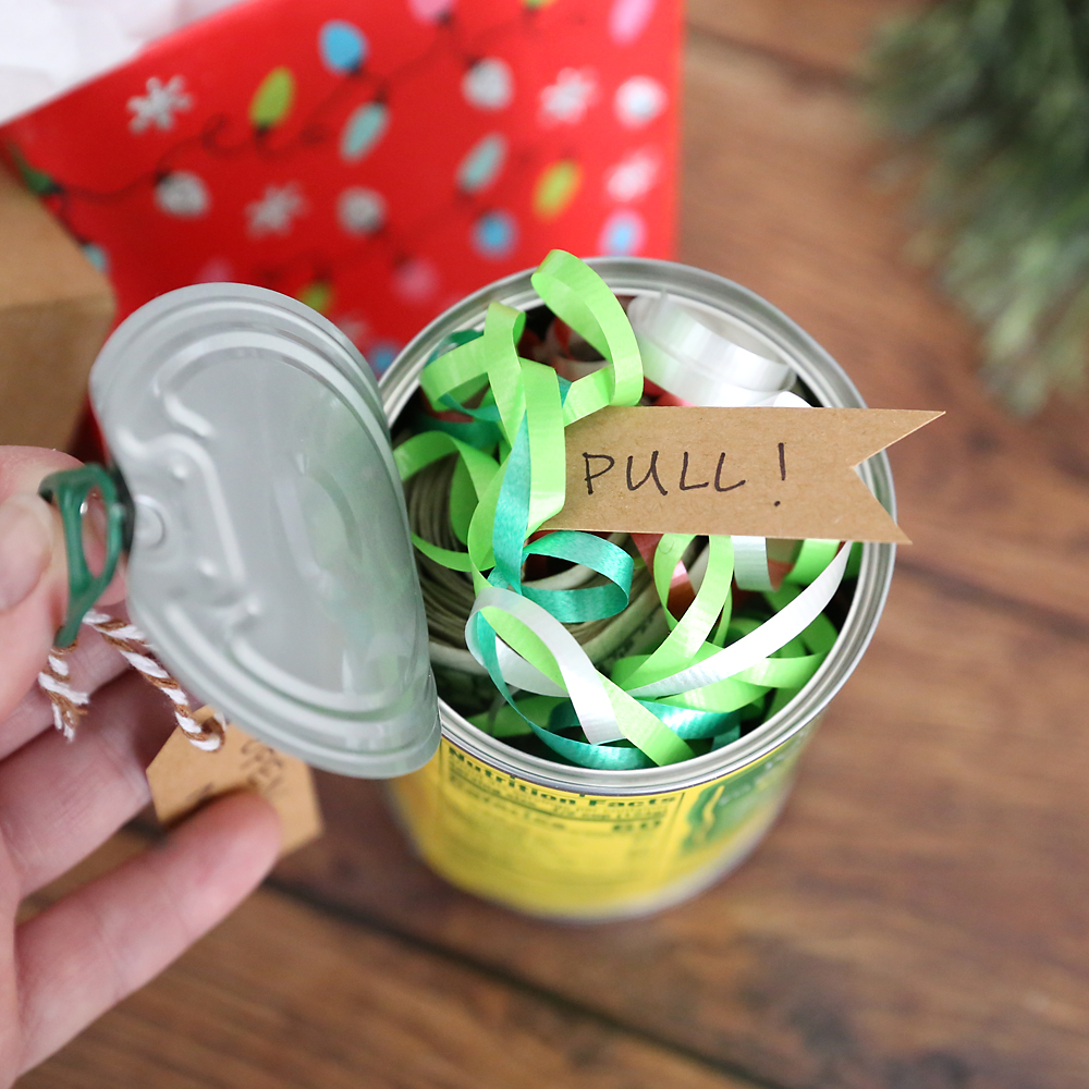 Fun Christmas gift idea money in a can of fruit! Cute Christmas gag gift & Funny Christmas money gift idea: Cash in a can - Itu0027s Always Autumn