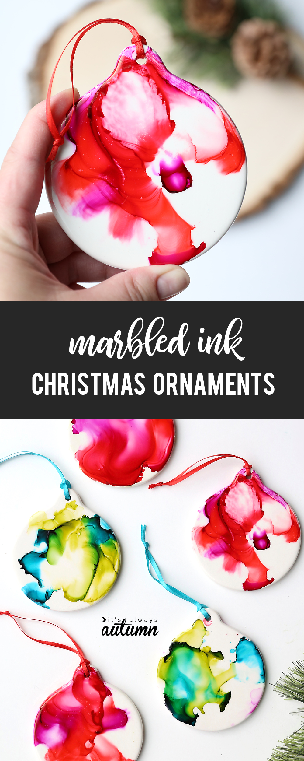 These pretty marbled Christmas ornaments are made with alcohol ink and FIRE! Great Christmas craft idea for kids.