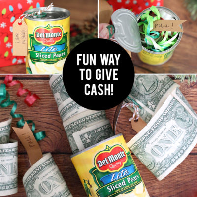 Funny Christmas money gift idea: Cash in a can