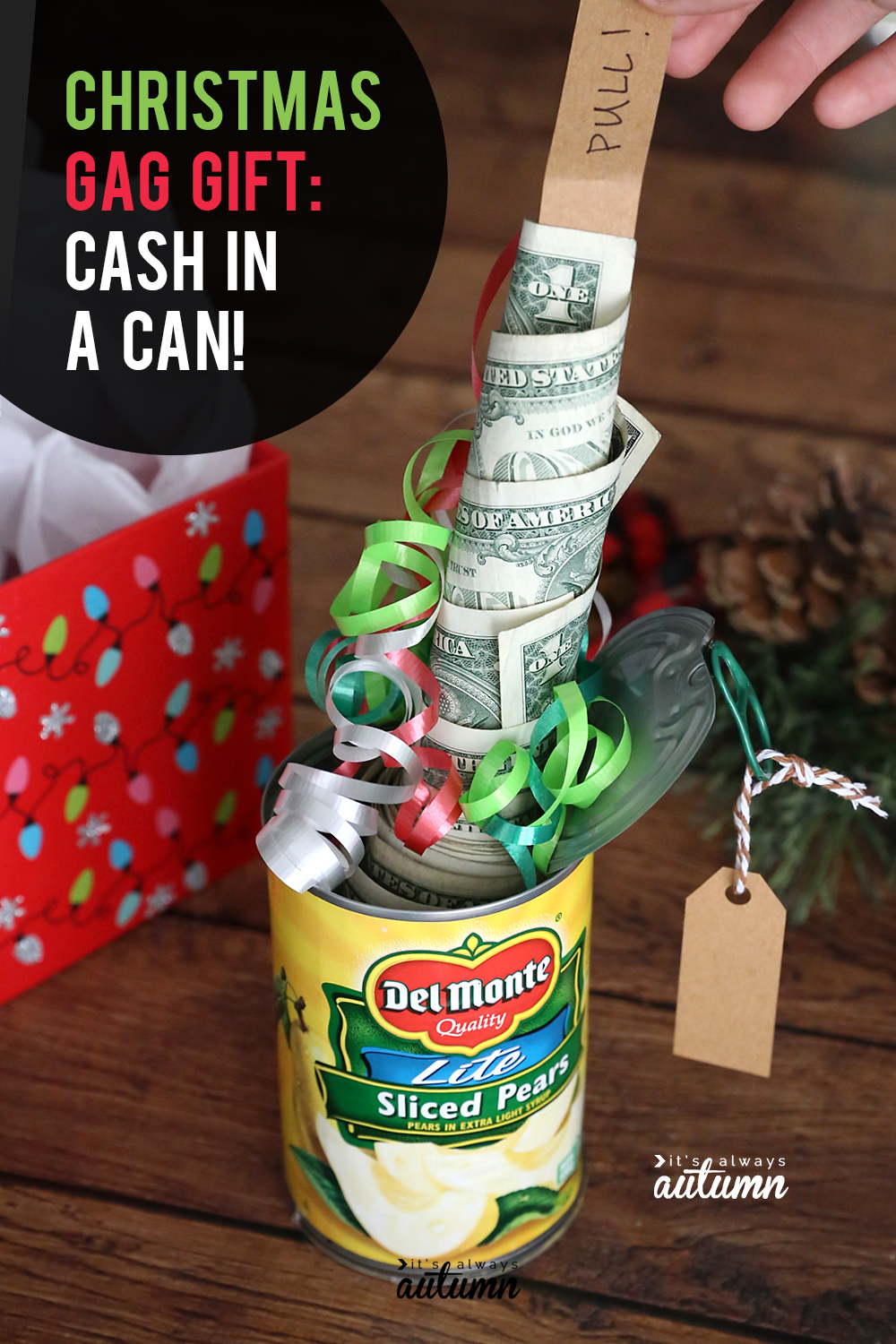 Fun Christmas gift idea: money in a can of fruit! Cute Christmas gag gift. It looks like a can of food, but there's a roll of cash inside.