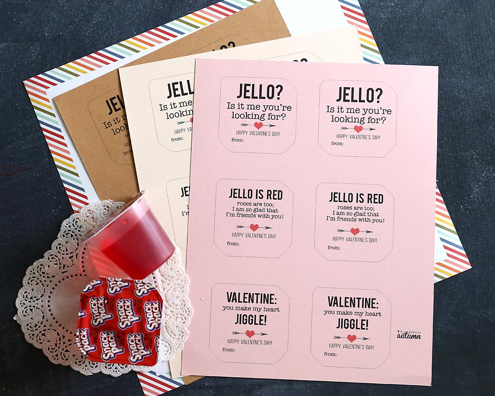 Cute classroom Valentine idea! Printable jello Valentines.