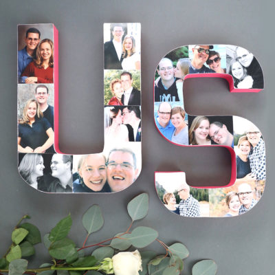 Photo collage letters for Valentine's Day or anniversaries
