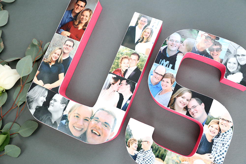 Love these pretty photo letters! Glue favorite photos on paper mache letters to spell a word. Great Valentine's Day or anniversary gift idea.
