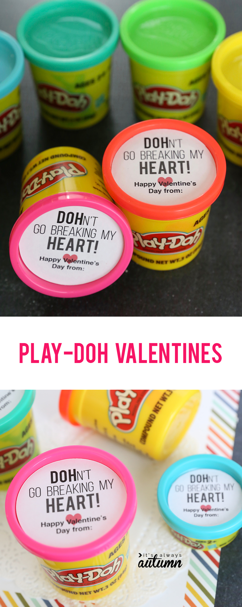 Cute Play-DOH Valentines! Easy printable Valentine's Day cards.