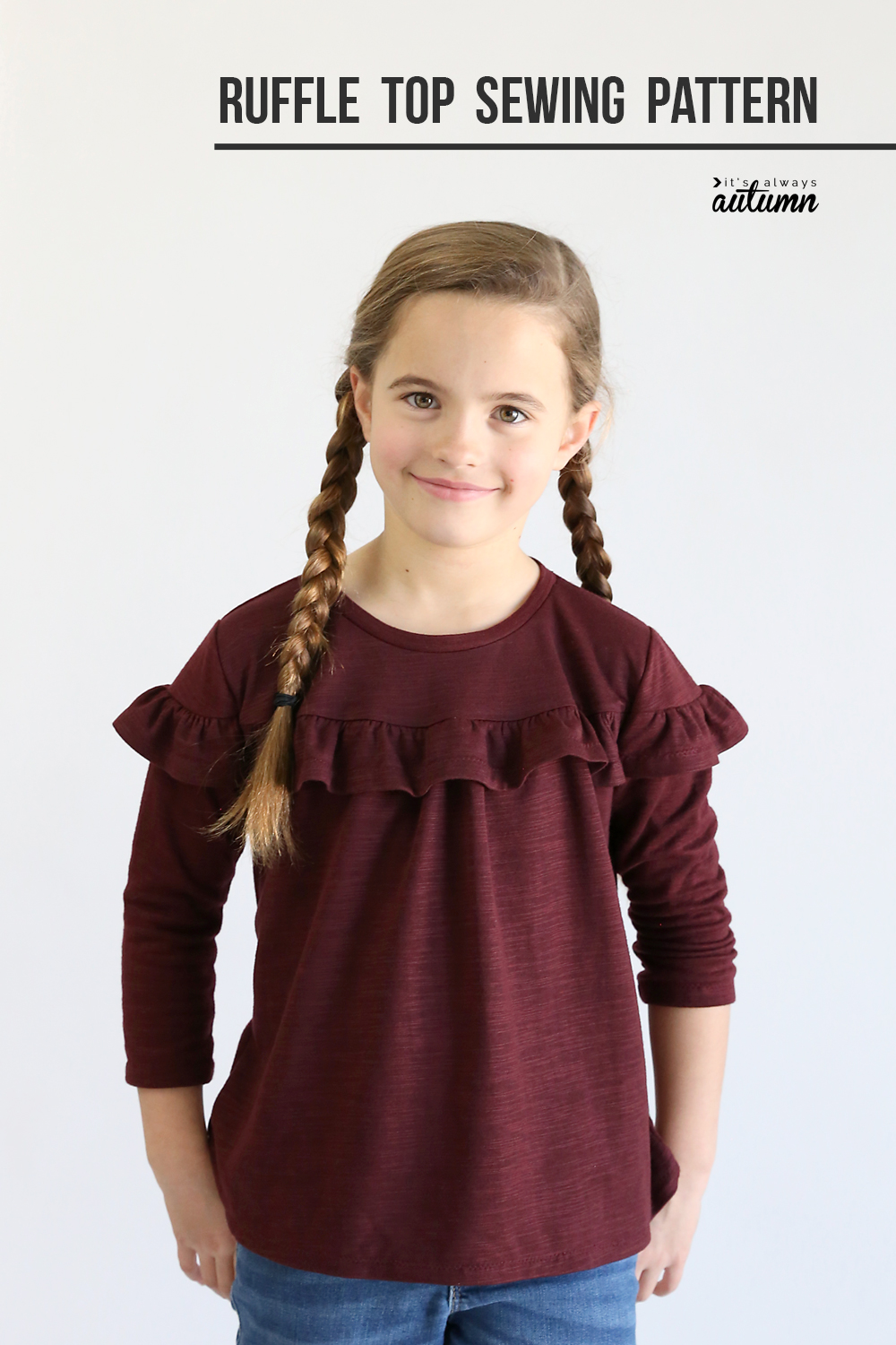 6668e79d707b13 Download the free sewing pattern for this adorable girls' ruffle top in  size 7/