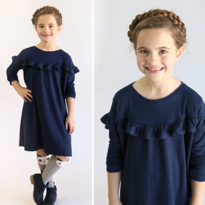Girls' ruffle dress free sewing pattern