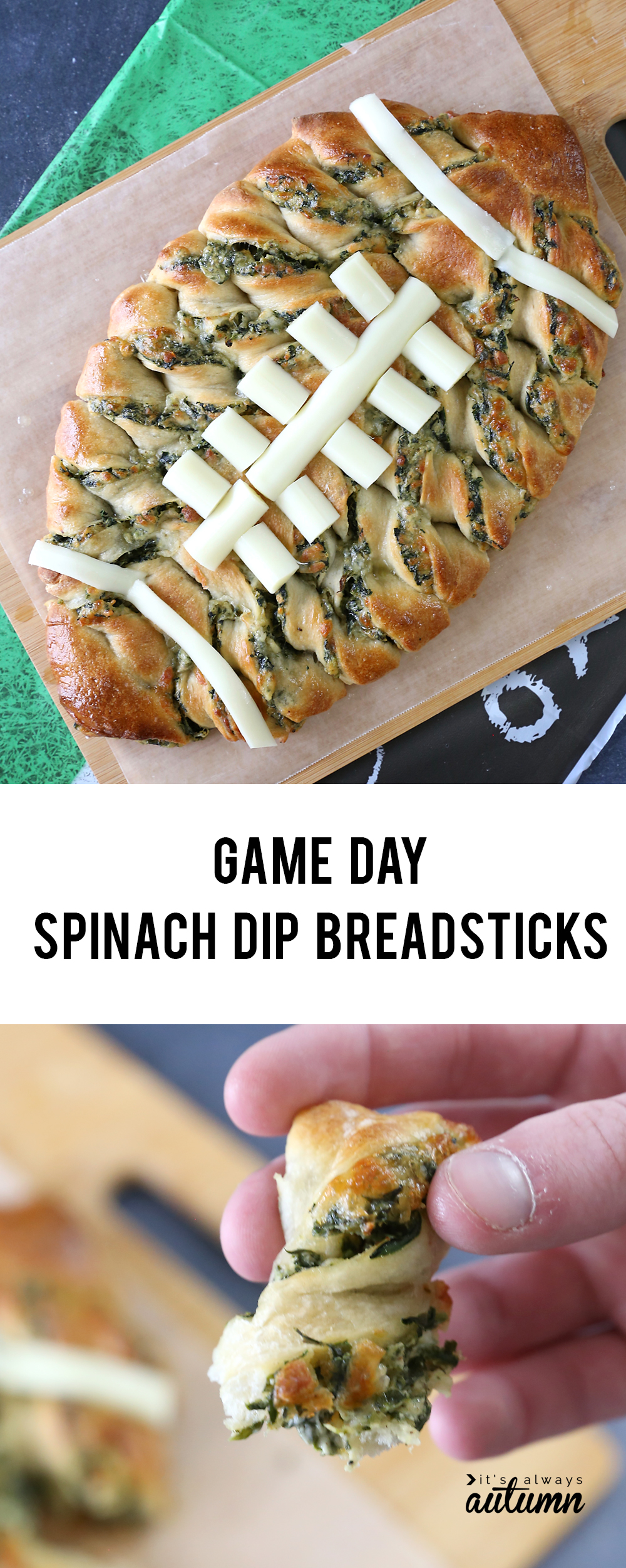 These football shaped breadsticks are stuffed with spinach dip! Perfect Superbowl snack or game day appetizer.