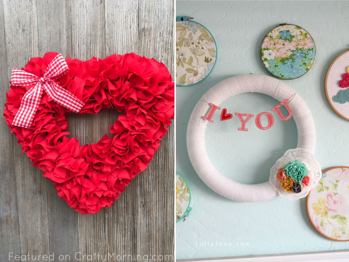 Fabric wrapped wreath and heart shaped fabric wreath