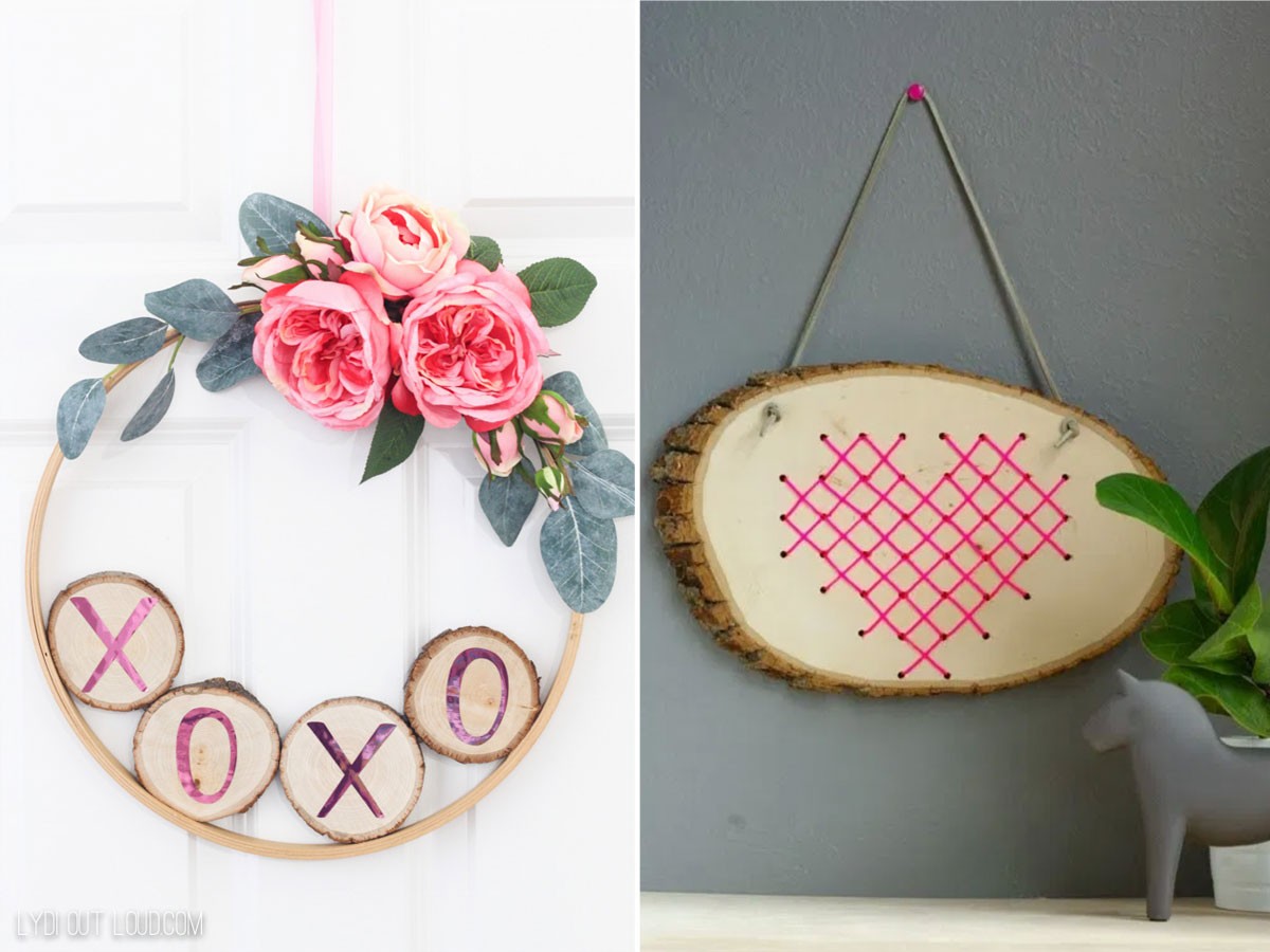 Valentine's Day embroidery hoop wreath and wood slice cross stitch