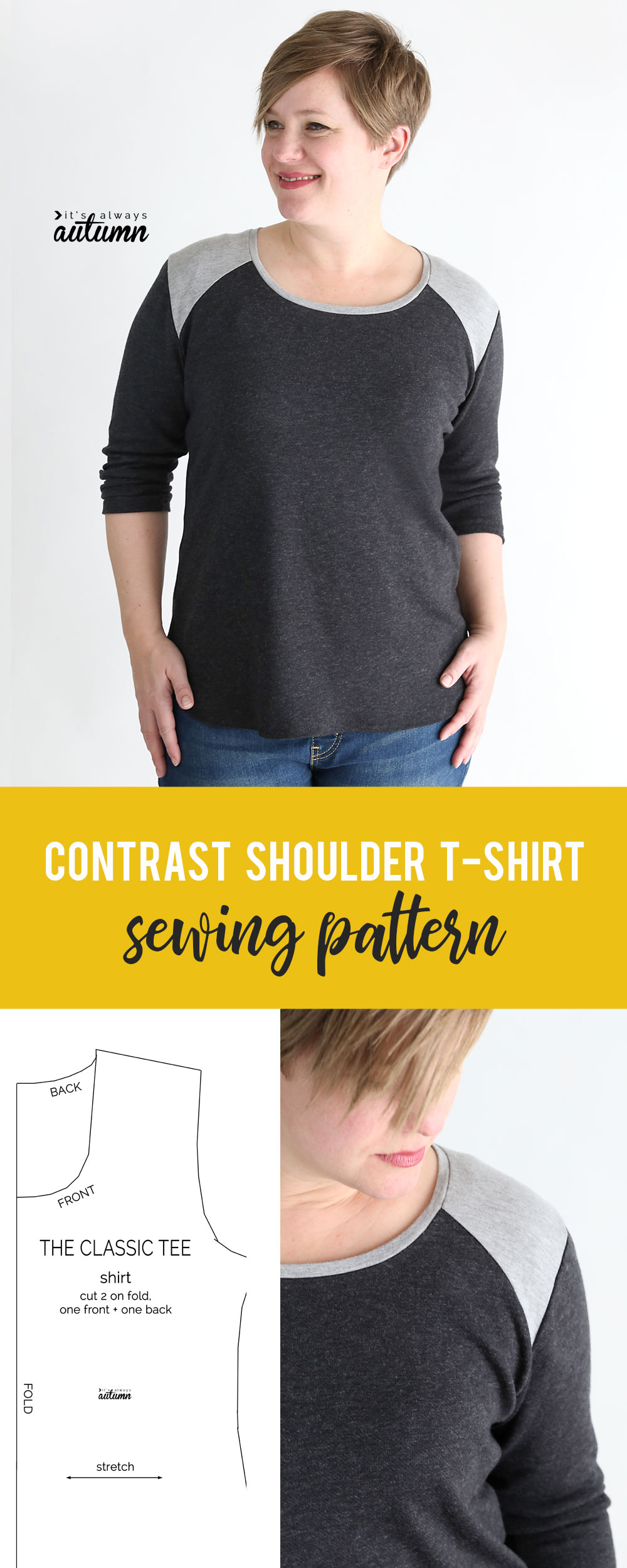 How to sew a women's t-shirt with a contrast shoulder. Easy sewing tutorial.