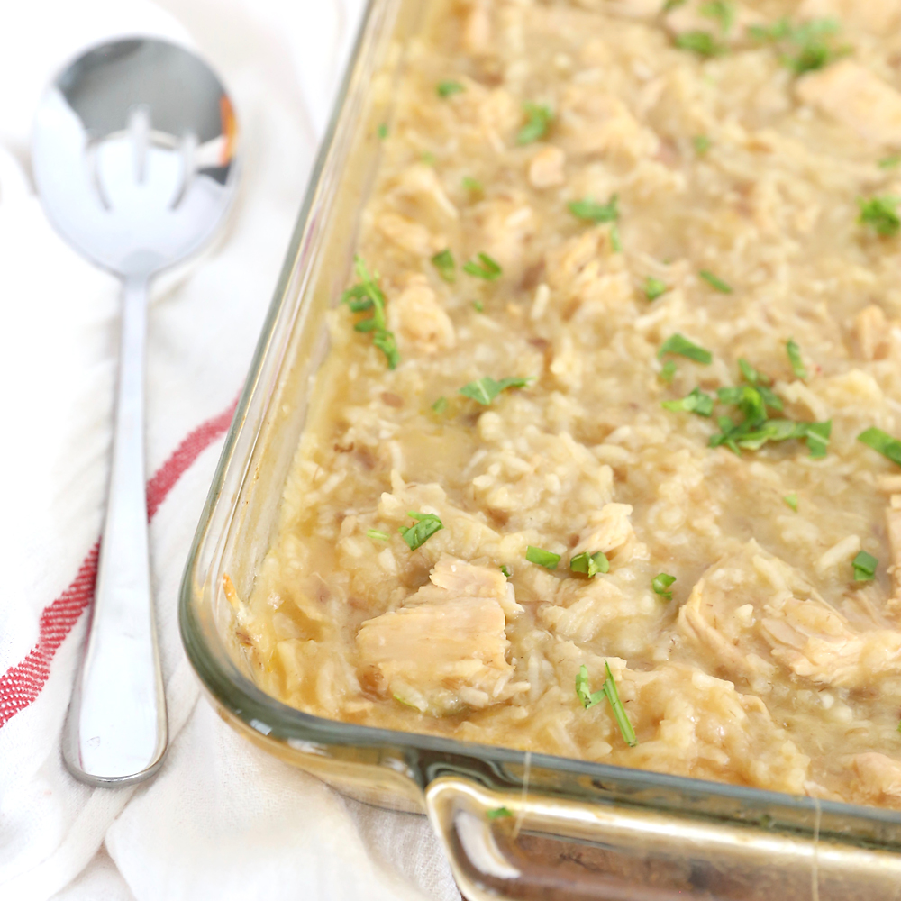 This creamy chicken and rice casserole is comfort food at it's finest! Only five ingredients and five minutes of prep.