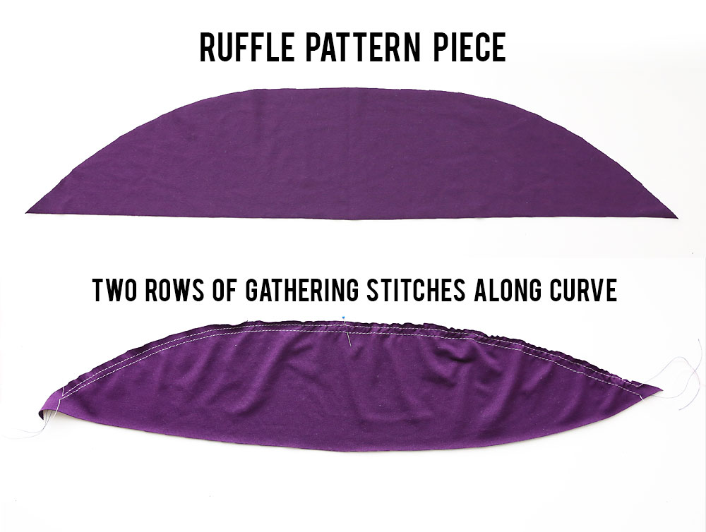 Get the free sewing pattern for this cute ruffle should t-shirt. Easy sewing tutorial.
