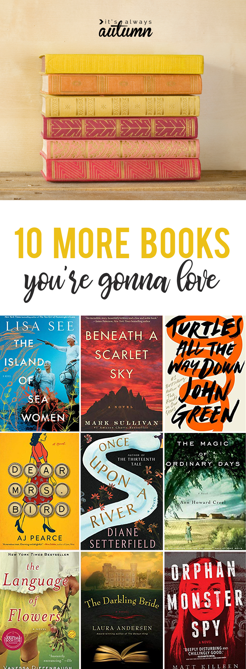 10 novels you're gonna love! Another fantastic book list.
