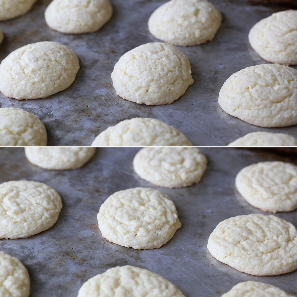 These cake mix sugar cookies taste great + they're super fast and easy to make! Simple frosted sugar cookie recipe.