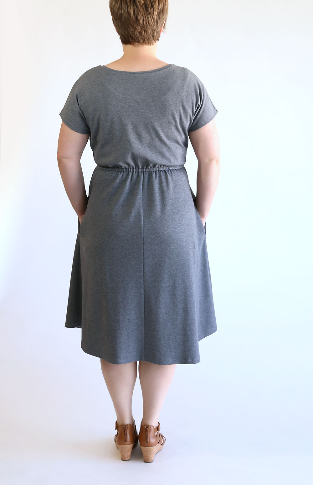 The Everyday Dress free sewing pattern in women's size large.