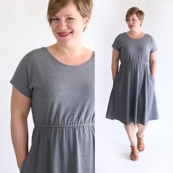 Woman wearing dress made from a free pattern