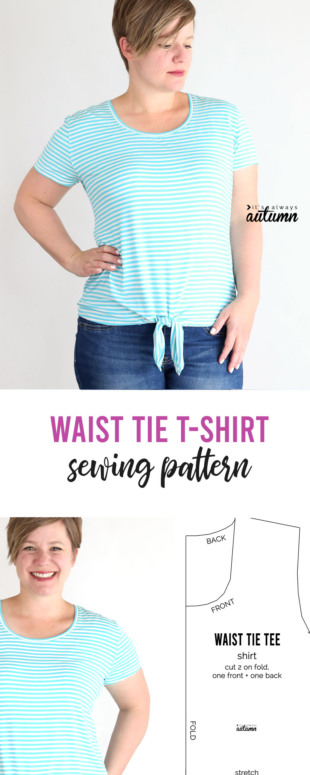 How to make a women's waist tie t-shirt. Click through for the free pattern in womens size L.