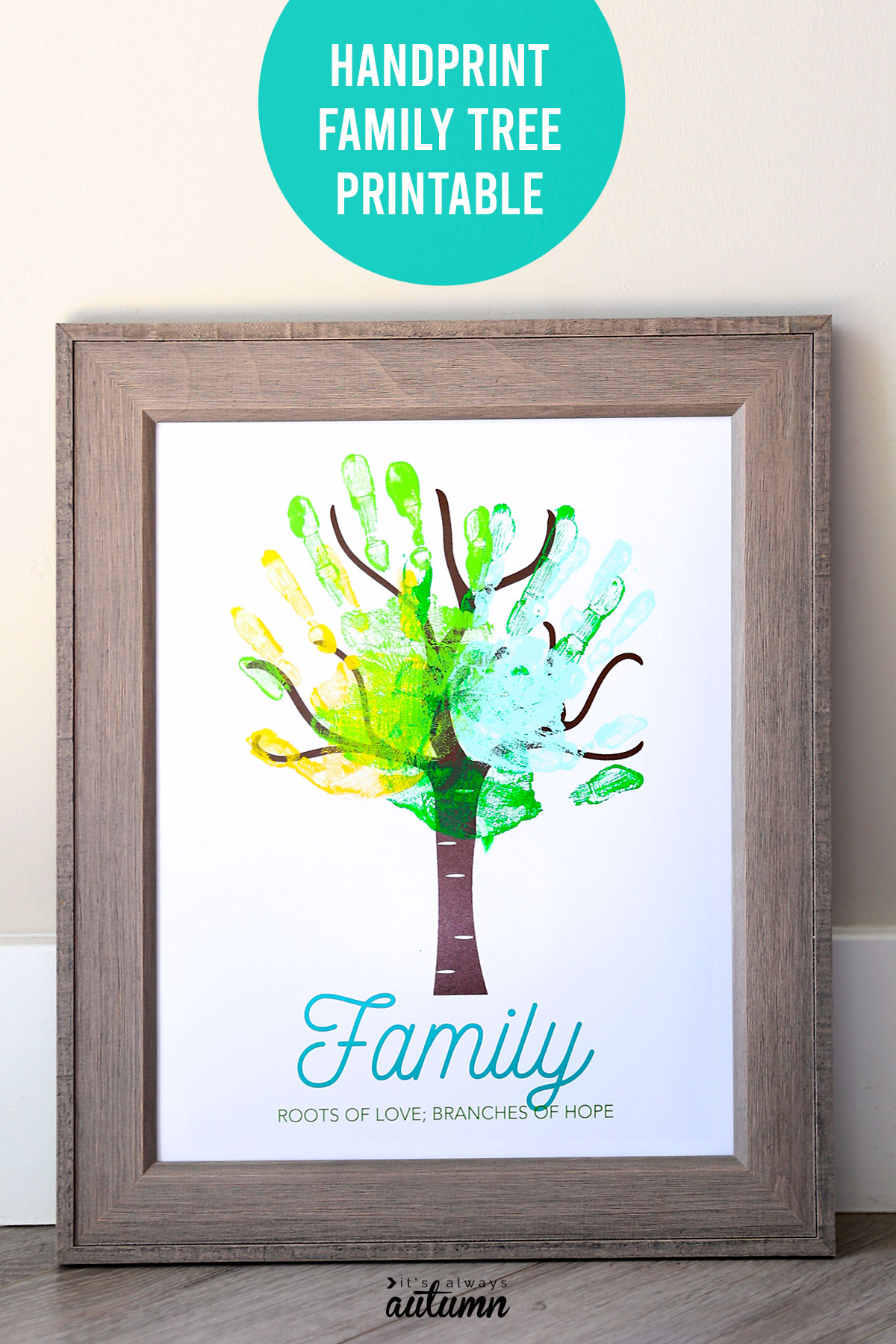 Cute family handprint tree! Click through for the free printable tree, then personalize with your family's handprints.