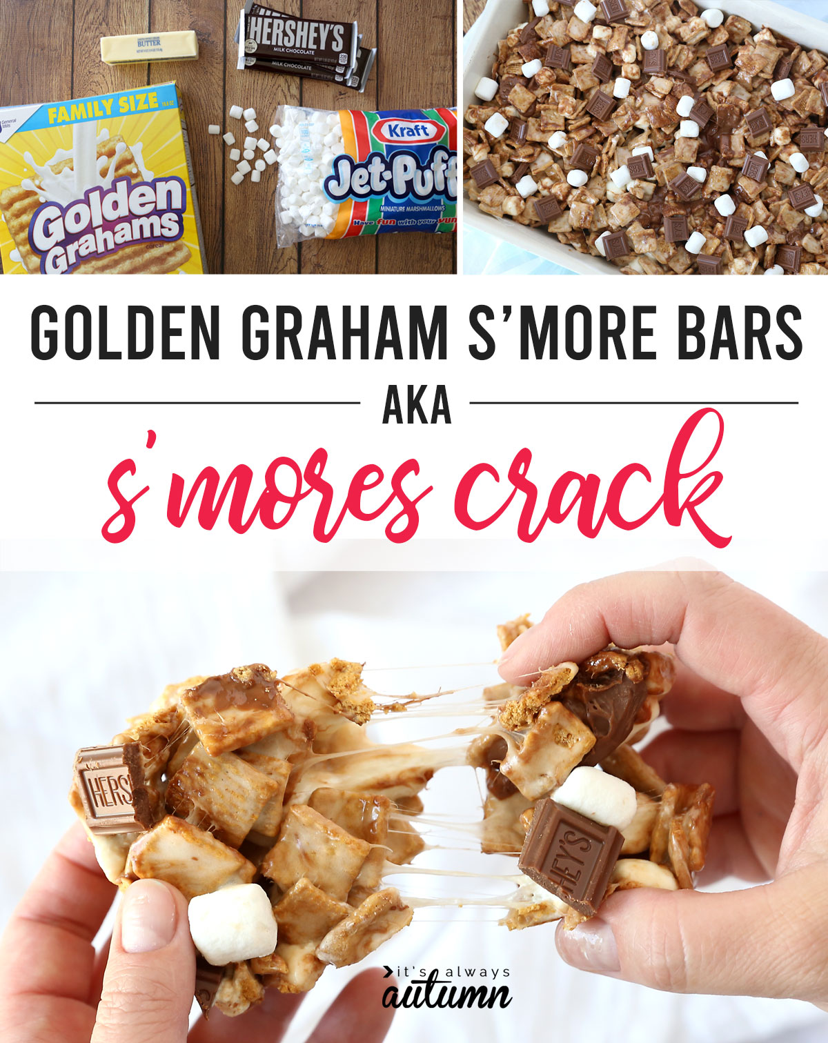 These Golden Graham bars are SO GOOD! We call them S'mores Crack because you can't stop eating them.