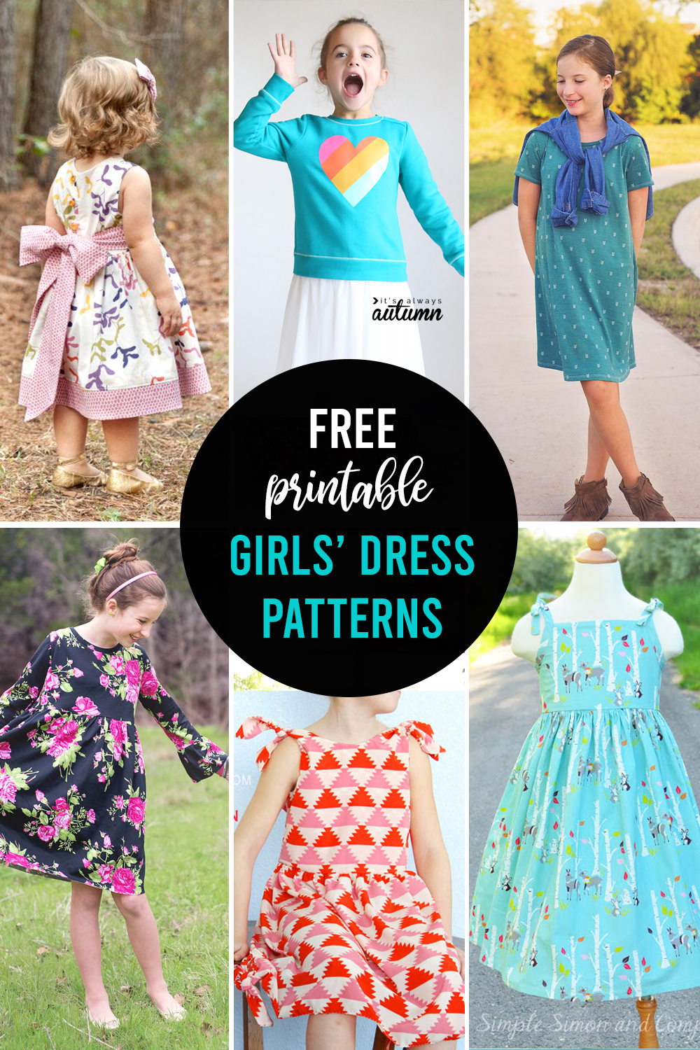 Free printable dress patterns for girls in multiple sizes.