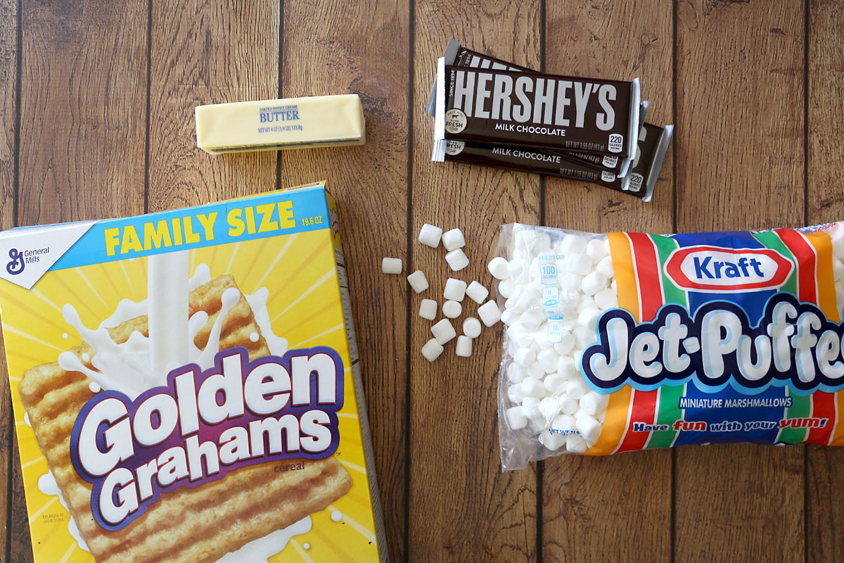 Golden graham bar ingredients: golden grahams, butter, marshmallows, Hershey bars