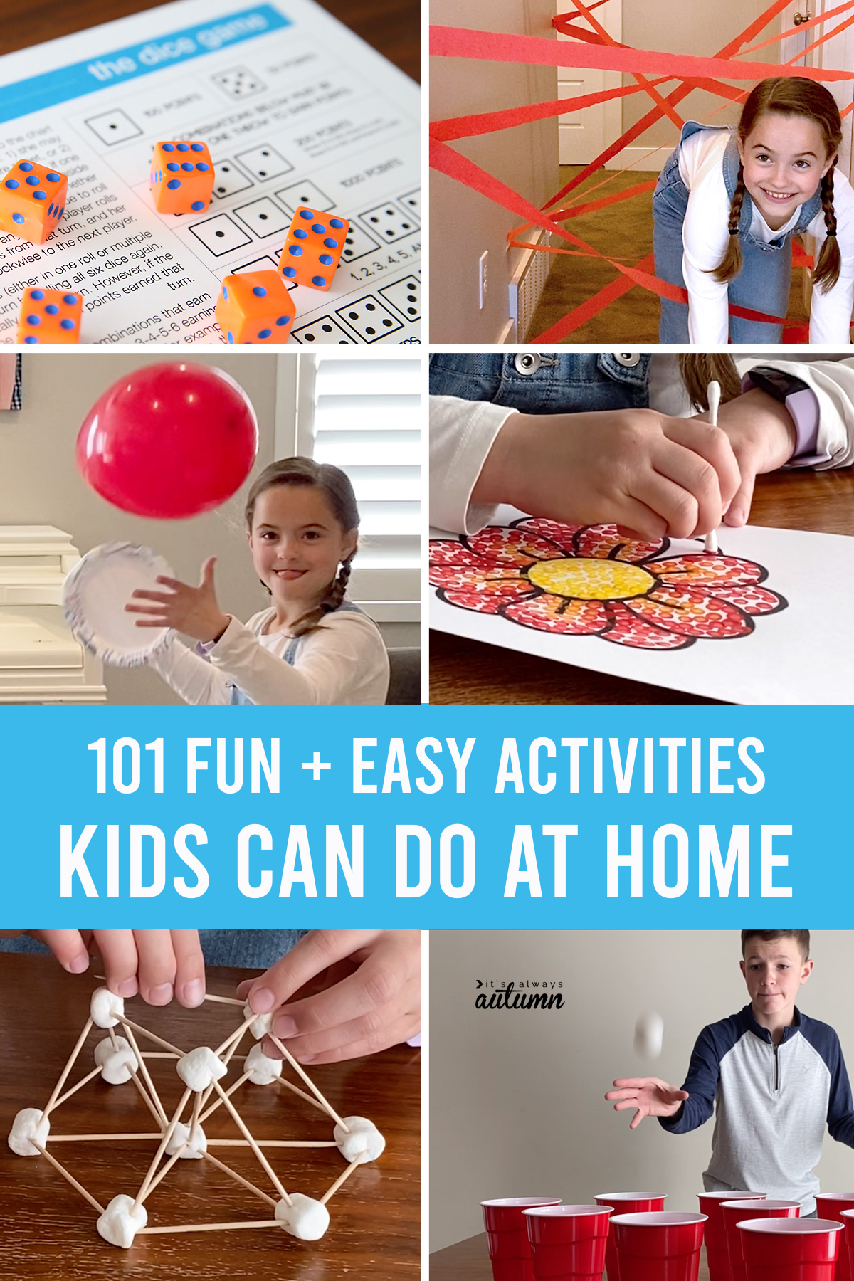 101 fun and easy activities kids can do at home! Tons of simple activities for kids.