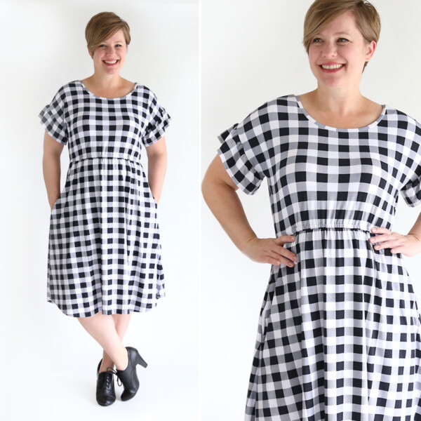 The Everyday Dress sewing pattern in womens size L. With a ruffle sleeve.