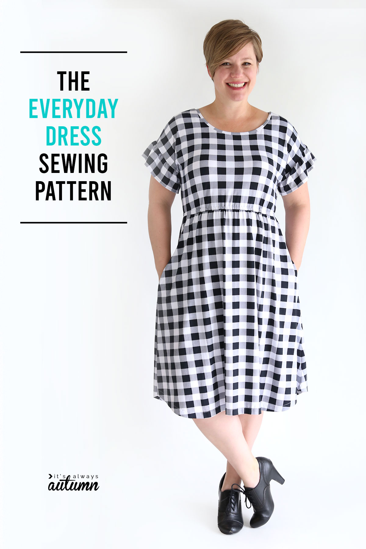 The Everyday Dress sewing pattern in women's size L.