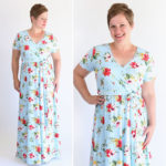 Pretty and flattering wrap maxi dress sewing pattern and tutorial.