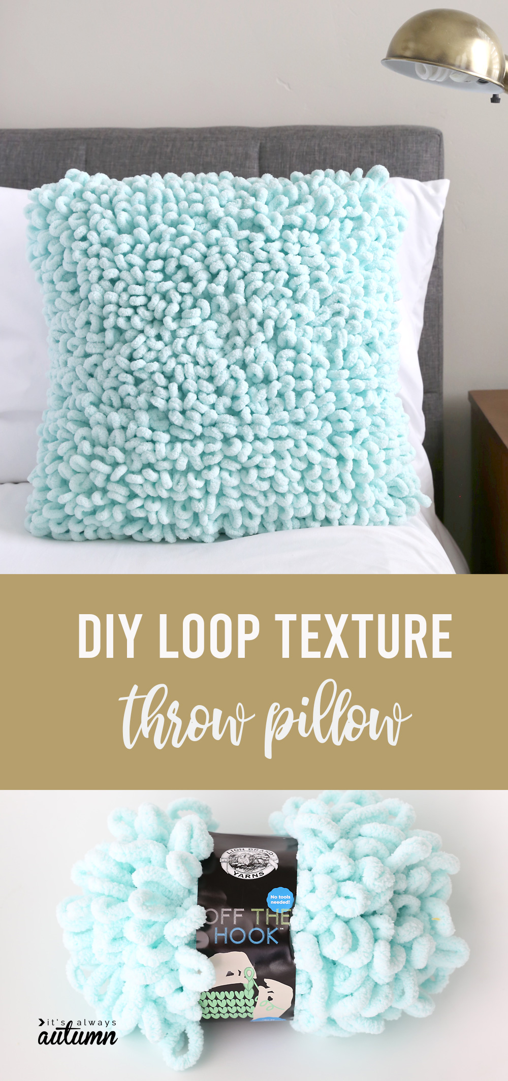 Learn how to finger knit this cool DIY throw pillow made with loop yarn