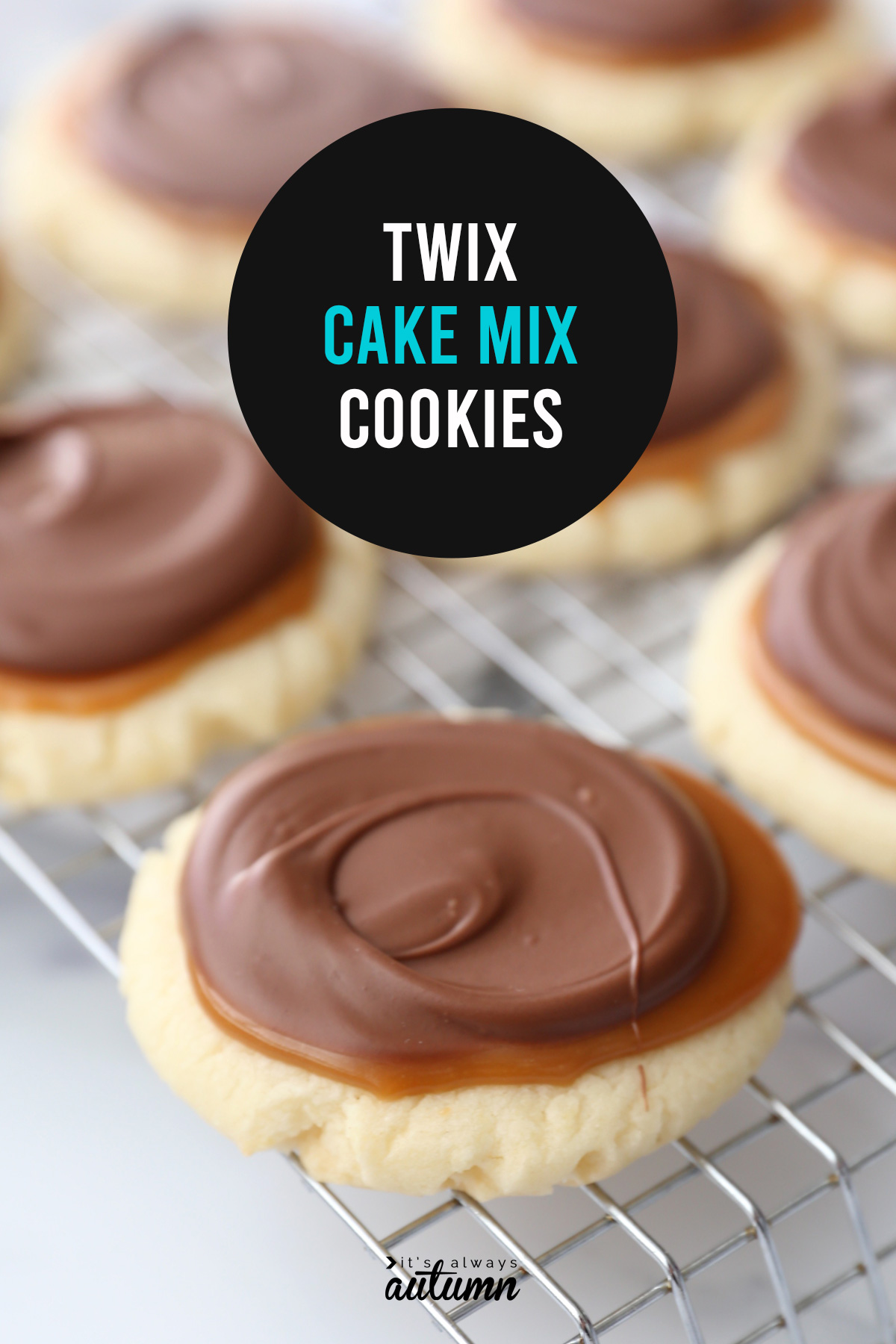 These delicious twix cookies are quick and easy to make because they start with a cake mix!