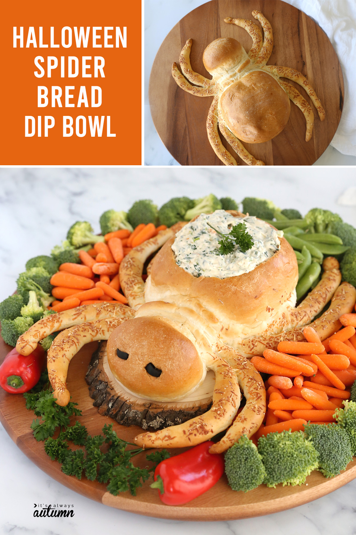 Halloween spider bread dip bowl is a your new favorite Halloween party food!