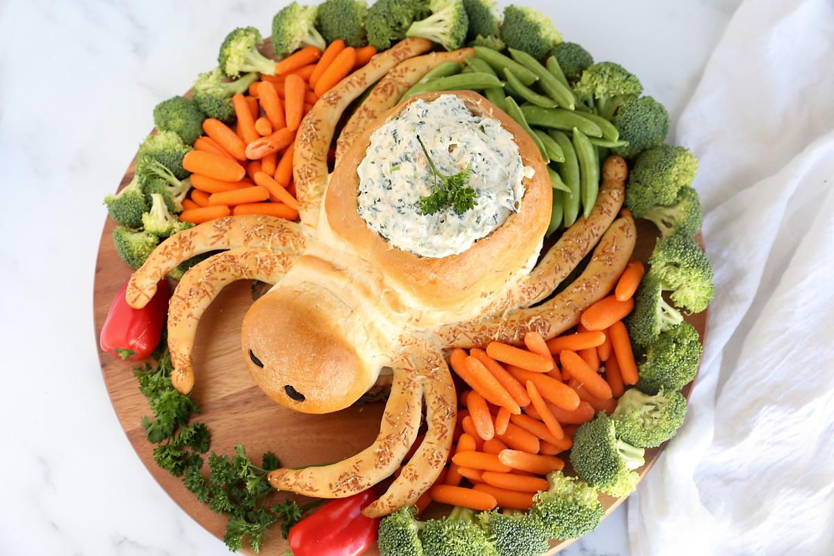 Halloween spider veggie tray